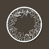 Laser cutting abstract round frame with internal decorations of branches with leaves in dark gray background. Vector illustration Royalty Free Stock Photo