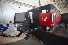 Laser cutting aluminum factory stock images