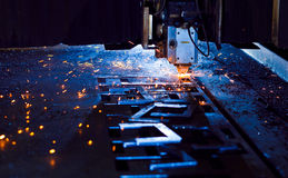 Laser cutting close up. Laser cutting with sparks close up Stock Photos