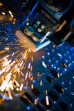Laser cutting close up. Laser cutting with sparks close up Royalty Free Stock Photos