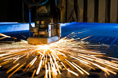 Laser cutting close up. Laser cutting with sparks close up Stock Photo