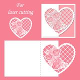Laser cutting. Envelope pattern with a pattern of roses. Wedding or Valentine lace heart. royalty free illustration