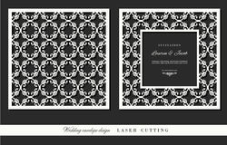 Laser cutting frame and ornamental panel set. Square filigree cutout envelope design. Front and back. Vector Royalty Free Stock Images