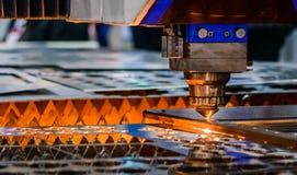 Laser cutting machine. Closeup Laser steel cutting machine with flame stock image