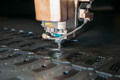 Laser cutting machine cuts the metal. Industry Royalty Free Stock Photos