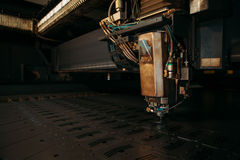 Laser cutting machine cuts the metal. Industry Stock Image