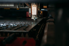 Laser cutting machine cuts the metal. Industry Royalty Free Stock Photography