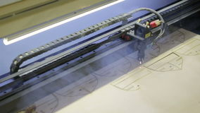 Laser cutting machine at work. stock video footage