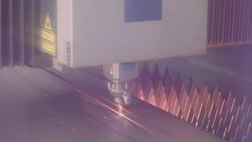 Laser cutting metal close up, modern precision cutting metal CNC machine.  stock video