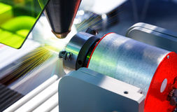 Laser cutting of metal on a lathe with the program. Stock Photo