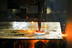 Laser cutting metal sheet Royalty Free Stock Photography