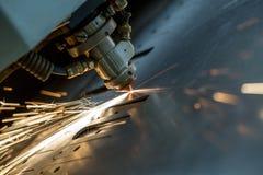 Laser cutting of metal sheet, close-up Royalty Free Stock Photo