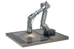 Laser cutting of metal sheet by robotic arm, 3D rendering. Laser cutting of metal sheet by robotic arm, 3D stock illustration