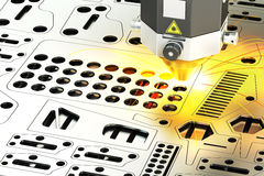 Laser cutting of metal sheet with sparks, 3D rendering Royalty Free Stock Photo