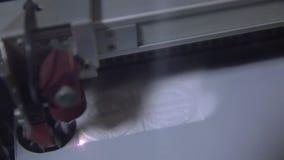Laser cutting in printing. High precision CNC laser cutting metal sheet. High precision CNC laser cutting metal sheet stock video footage