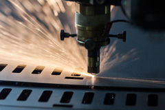 Laser cutting process Royalty Free Stock Photography