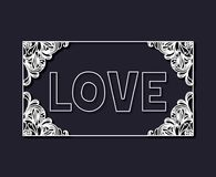 Laser cutting of rectangular frame with floral border and love text inside with dark blue color background Royalty Free Stock Photos