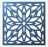 Laser cutting square panel. Openwork floral pattern with mandala. Perfect for gift box silhouette ornament, wall art, screen, panel fence, partition, gate or Royalty Free Stock Photos