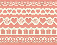 Laser cutting stencil borders for decoration, design cards, interior decorative elements. Set of seamless lace ribbons for Valenti. Nes day. Vector illustration Stock Image