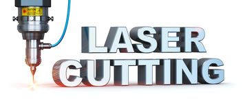 Laser cutting technology. Laser cutting text metal industry concept: macro view of industrial digital CNC - computer numerical control CO2 invisible laser beam Stock Photo