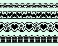 Laser cutting template borders for design cards invitations, interior decorating, elements embellishment. Set of seamless lace tap. Es for Valentines day. Vector Royalty Free Stock Images