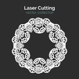 Laser Cutting Template. Round Card with Roses. Royalty Free Stock Photos