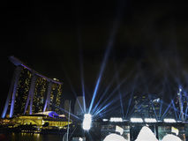 Laser Display at The Float, Marina Bay. Laser display during Singapore National Day Parade 2017 Preview.  Singapore will celebrate it`s 52nd National Day on 9th Stock Photography