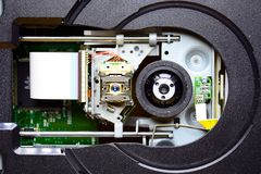 Laser in DVD-ROM disk drive open unit Stock Photo