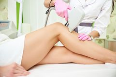 Laser hair removal process royalty free stock photography