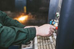 Laser equipment management and plant manufacturing metal structu Royalty Free Stock Photography