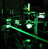 Laser experiment. Installation with a copper vapor laser royalty free stock photography