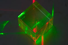 Laser experiment. In the lab with red and green lasers Stock Photo