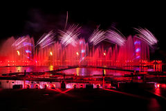 Laser and fireworks show in Moscow, Russia Royalty Free Stock Photography