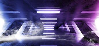Laser fluorescent rougeoyant de bleu de pourpre de rétro Sci fi d'abrégé sur brouillard de fumée de lampe au néon de vaisseau spa illustration stock