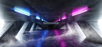 Laser fluorescent rougeoyant de bleu de pourpre de r?tro Sci fi d'abr?g? sur brouillard de fum?e de lampe au n?on de vaisseau spa illustration de vecteur
