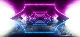 Laser fluorescent rougeoyant de bleu de pourpre de r?tro Sci fi d'abr?g? sur brouillard de fum?e de lampe au n?on de vaisseau spa illustration libre de droits
