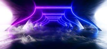 Laser fluorescent rougeoyant de bleu de pourpre de r?tro Sci fi d'abr?g? sur brouillard de fum?e de lampe au n?on de vaisseau spa illustration stock