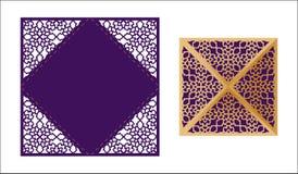 Laser geschnittene dekorative Spitze-angrenzende Vektorschablone Luxus grüßt Lizenzfreie Stockfotos
