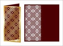 Laser geschnittene dekorative Vektorschablone Luxusgrußkarte, enve Stockfotos