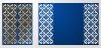 Laser geschnittene dekorative Vektorschablone Luxusgrußkarte, enve Stockbild