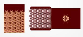 Laser geschnittene dekorative Vektorschablone Luxusgrußkarte, enve Lizenzfreies Stockbild