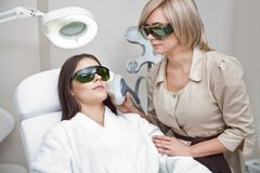 Laser hair removal procedure Royalty Free Stock Photography