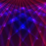 Laser-Hintergrund mit den blauen und violetten Strahlen Stockfotos