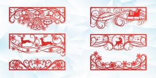 Laser-klippdesign för jul och nytt år Kontursnitt En uppsättning av mallen av hörnet och horisontalbeståndsdelar till vektor illustrationer