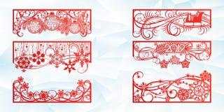 Laser-klippdesign för jul och nytt år Kontursnitt En uppsättning av mallen av hörnet och horisontalbeståndsdelar till stock illustrationer