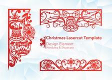 Laser-klippdesign för jul och nytt år Kontursnitt En uppsättning av mallen av hörnet och horisontalbeståndsdelar till royaltyfri illustrationer