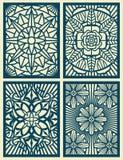 Laser klippte kort för lövsågsarbetevektormodellen, paneler royaltyfri illustrationer
