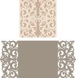 Laser klippte kuvertmallen för inbjudanbröllopkort Royaltyfri Bild