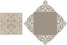 Laser klippte kuvertmallen för inbjudanbröllopkort vektor illustrationer