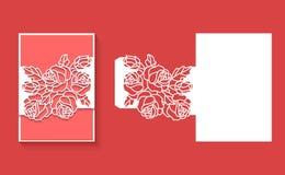 Laser klippte kuvertmallen för inbjudanbröllopkort Det pappers- hälsningkortet med snör åt gränsen Royaltyfria Bilder